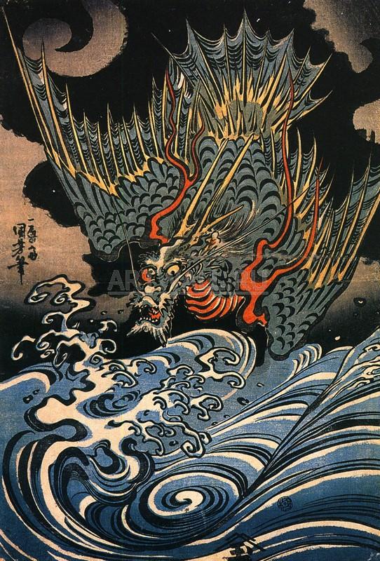 """Японская гравюра Японские гравюры, """"Дракон"""", 20x30 см, на бумаге от Artwall"""