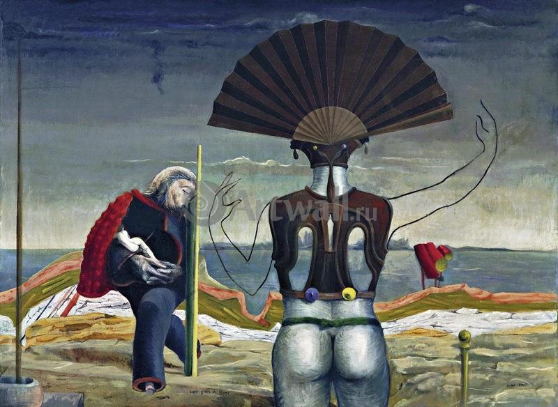 """Художники, картина """"Женщина, старик"""", 27x20 см, на бумаге от Artwall"""