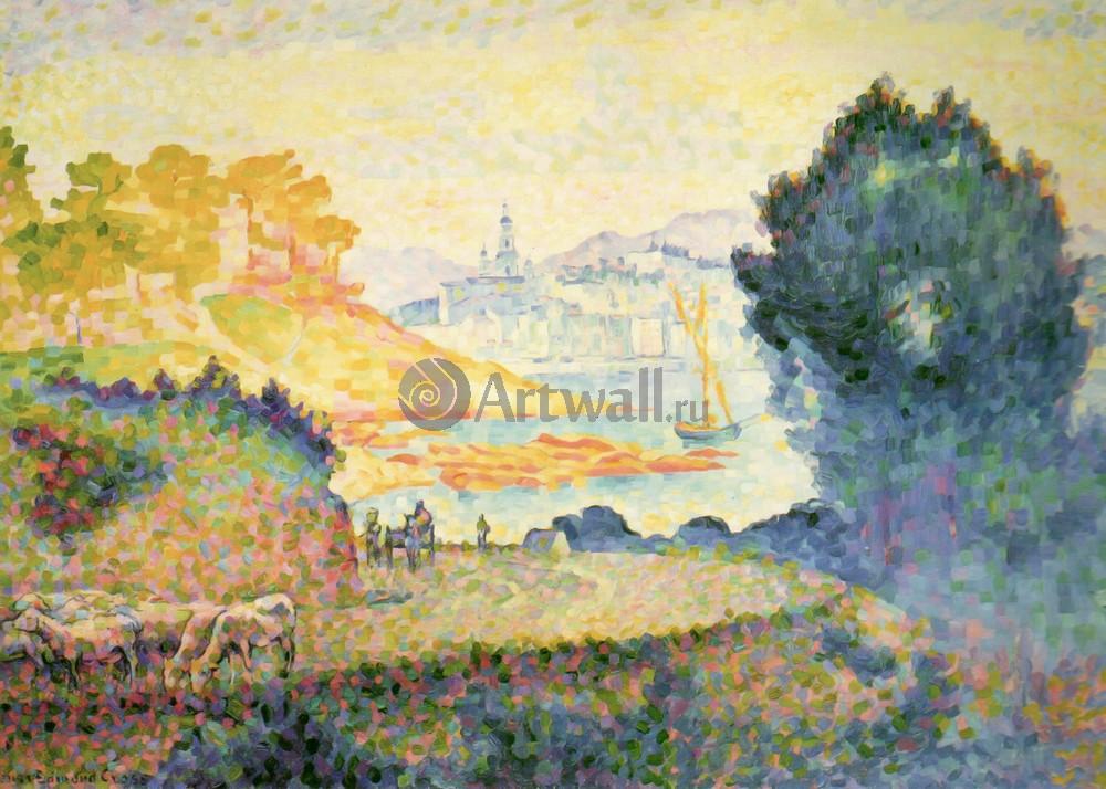 """Художники, картина """"Вид Ментона"""", 28x20 см, на бумаге от Artwall"""
