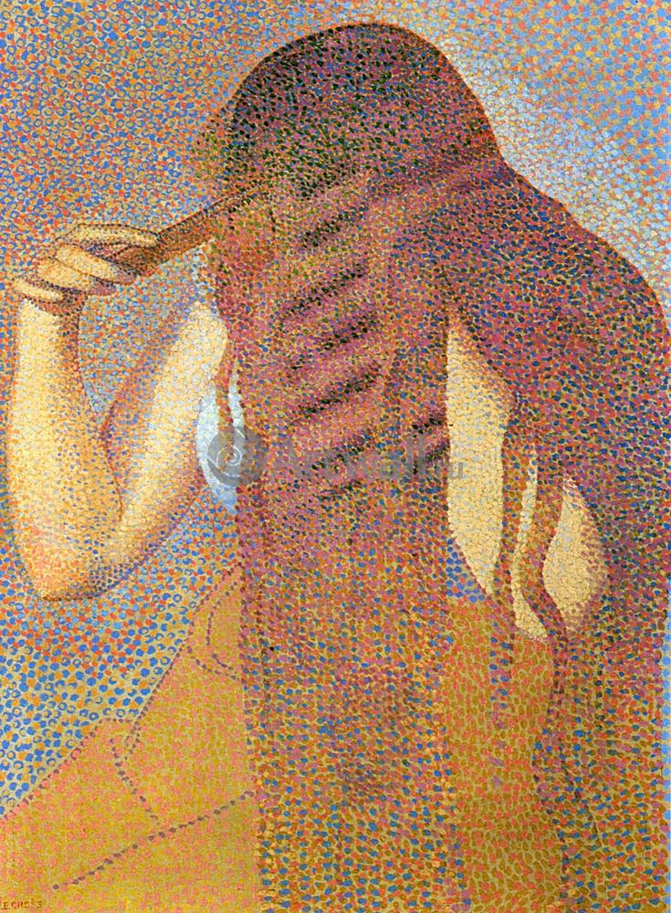 """Художники, картина """"Женщина, расчесывающая волосы"""", 20x27 см, на бумаге от Artwall"""