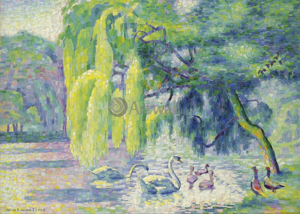 """Художники, картина """"Лебединая семья"""", 28x20 см, на бумаге от Artwall"""