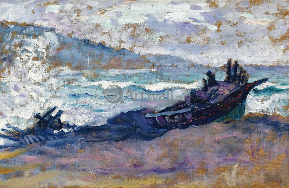 """Художники, картина """"Лодка на пляже"""", 31x20 см, на бумаге от Artwall"""