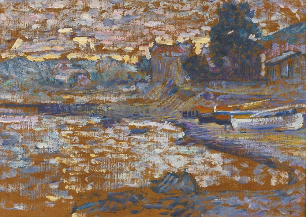 """Художники, картина """"Лодки на берегу в Лавандо"""", 28x20 см, на бумаге от Artwall"""