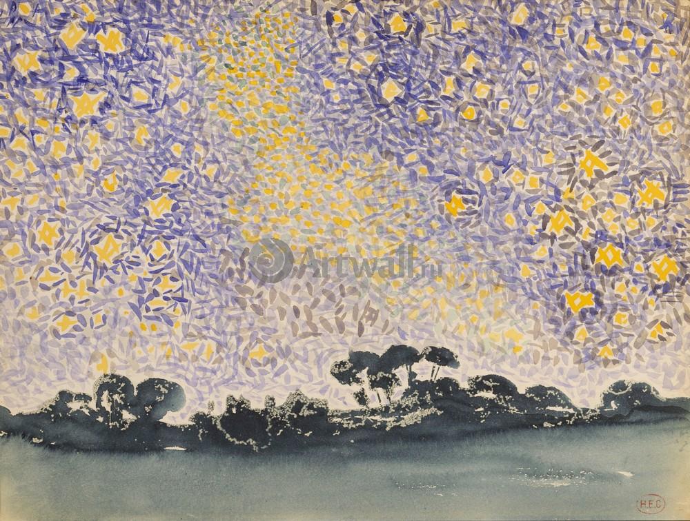 """Художники, картина """"Пейзаж со звездами"""", 26x20 см, на бумаге от Artwall"""