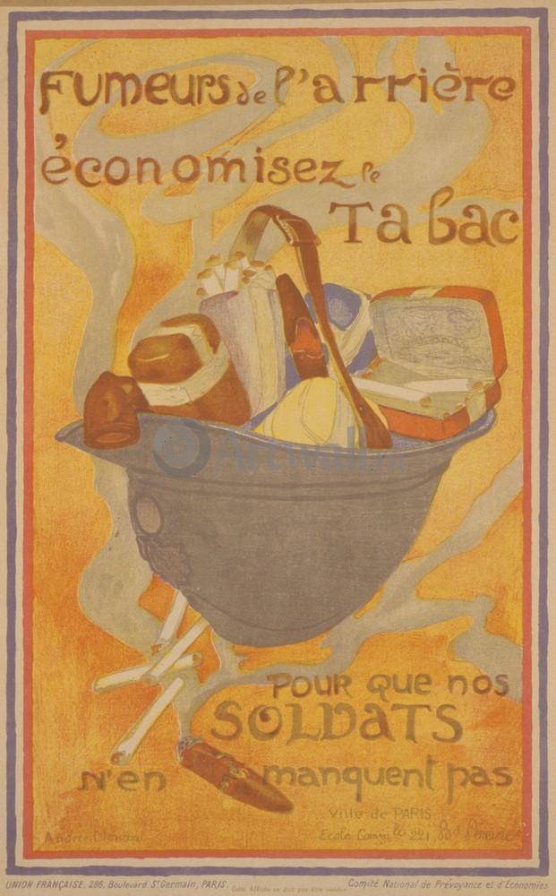 """Плакат Плакат 20 века """"Fumeurs de L'arri?re Economisez le Tabac Pour que nos Soldats n'en Manquent Pas"""", 20x32 см, на бумаге от Artwall"""