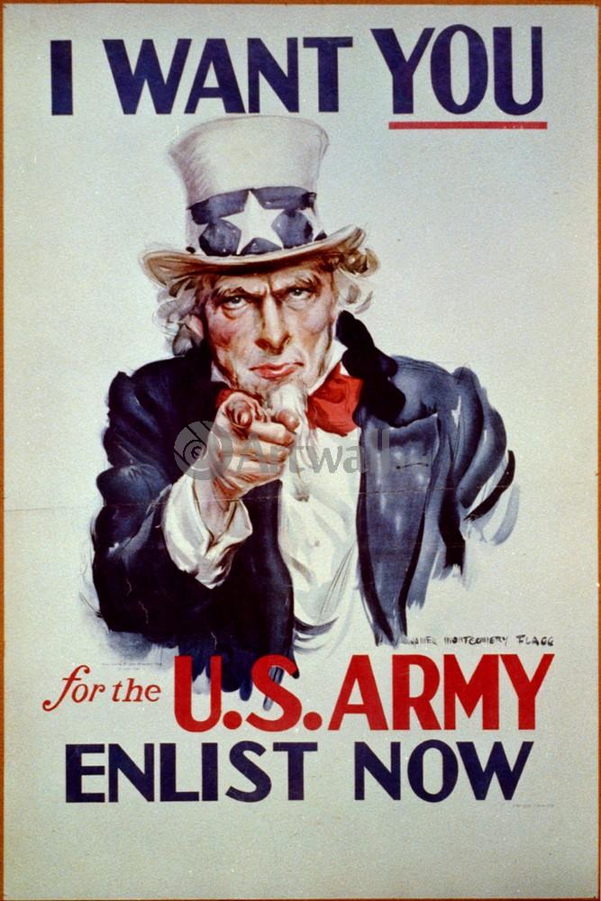 """Плакат Плакат 20 века """"I Want You для армии США"""", 20x30 см, на бумаге от Artwall"""