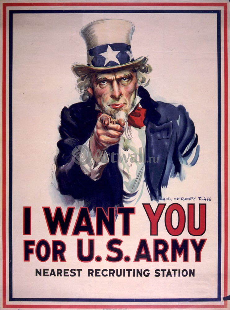 """Плакат Плакат 20 века """"I Want You для армии США, ближайший призывной пункт"""", 20x27 см, на бумаге от Artwall"""