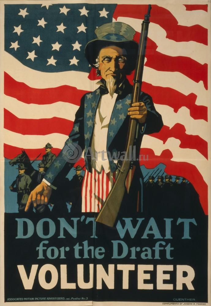 "Плакат Плакат 20 века ""Don't Wait for the Draft, Volunteer"", 20x29 см, на бумаге от Artwall"