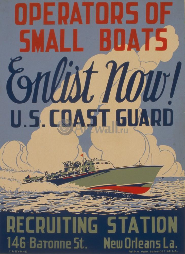 """Плакат Плакат 20 века """"Operators of Small Boats Enlist Now!"""", 20x27 см, на бумаге от Artwall"""