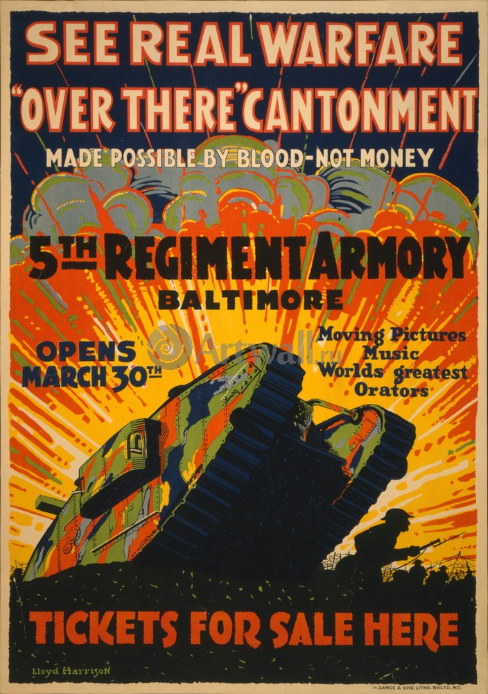 "Плакат Плакат 20 века ""See Real Warfare, Over There Cantonment, 5th Regiment Armory Baltimore"", 20x28 см, на бумаге от Artwall"