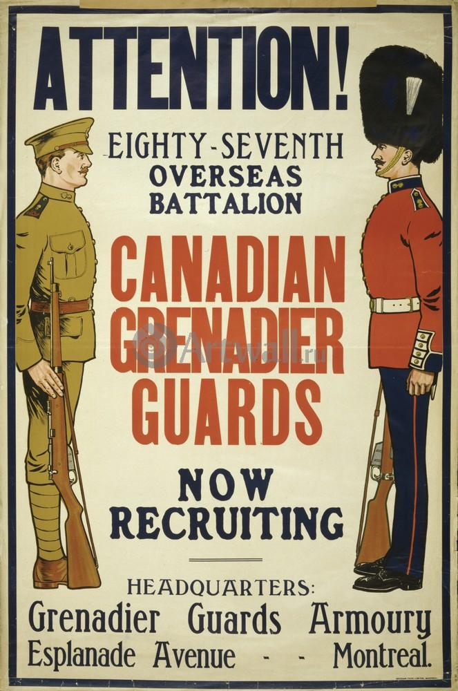 """Плакат Плакат 20 века """"Внимание! Рекрутинг в Канадский гренадерский гвардейский полк"""", 20x30 см, на бумаге от Artwall"""