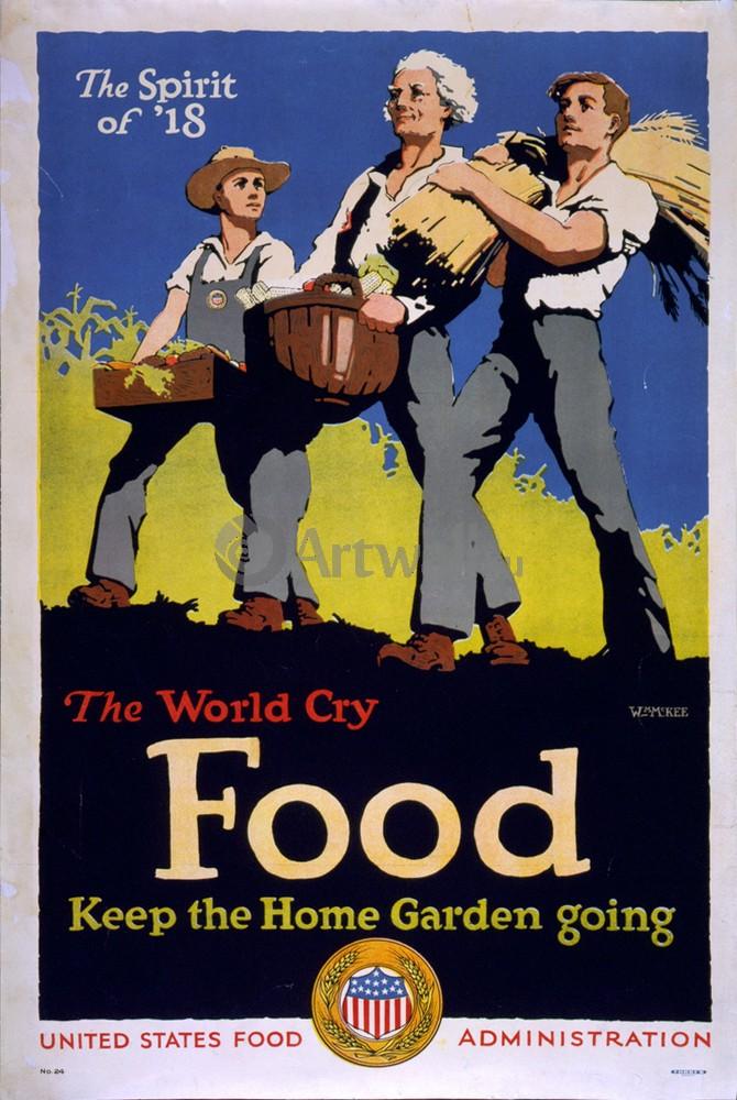 "Плакат Плакат 20 века ""Всемирный Крик - Еда Держите дома сад"", 20x30 см, на бумаге от Artwall"
