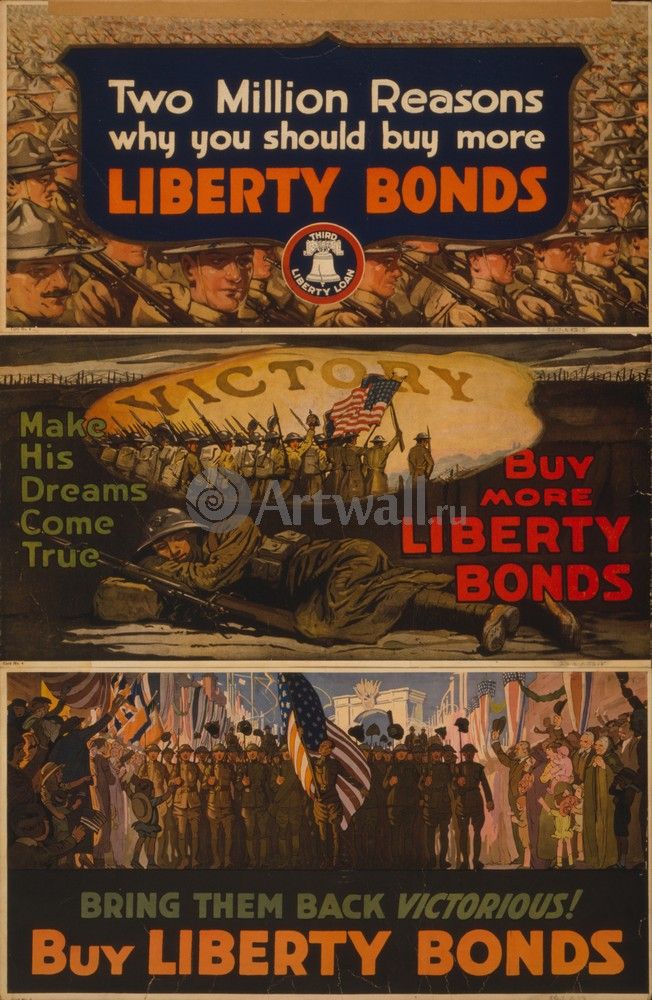 """Плакат Плакат 20 века """"Два миллиона причин, почему вы должны купить больше свободных Облигаций"""", 20x31 см, на бумаге от Artwall"""