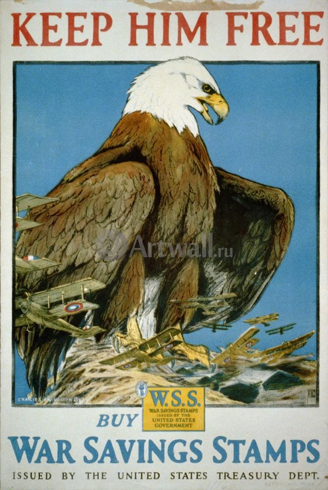 """Плакат Плакат 20 века """"Держите его на свободе, American Eagle"""", 20x30 см, на бумаге от Artwall"""