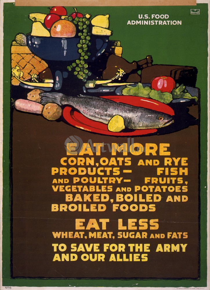 """Плакат Плакат 20 века """"Ешьте больше, меньше есть, чтобы сохранить для армии и наших союзников"""", 20x28 см, на бумаге от Artwall"""