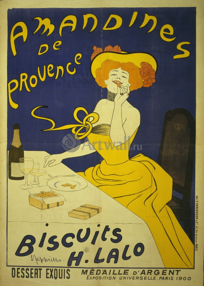 "Плакат Плакат 20 века ""Amandines de Provence, печенье H. Lalo"", 20x28 см, на бумаге от Artwall"