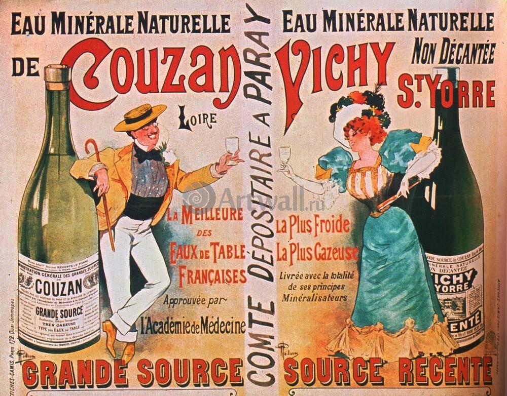 "Плакат Плакат 20 века ""Eau Minerale Naturelle de Couzan Vichy St. Yorre"", 26x20 см, на бумаге от Artwall"
