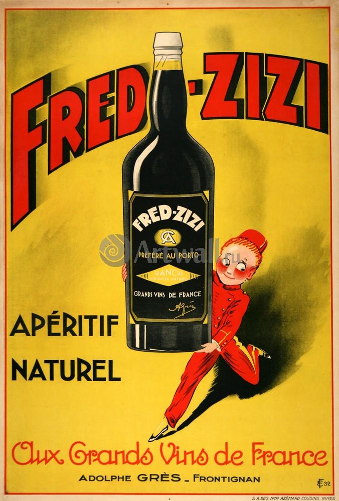 "Плакат Плакат 20 века ""Fred Zizi, Аперитив Naturel, французского вина"", 20x30 см, на бумаге от Artwall"