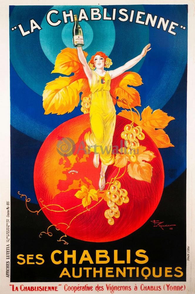 """Плакат Плакат 20 века """"La Chablisienne, Ses Chablis Authentiques"""", 20x30 см, на бумаге от Artwall"""