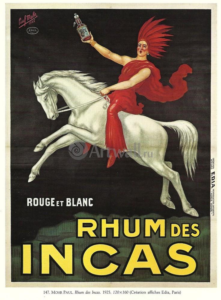 "Плакат Плакат 20 века ""Rhum des Incas, Rouge et Blanc"", 20x27 см, на бумаге от Artwall"