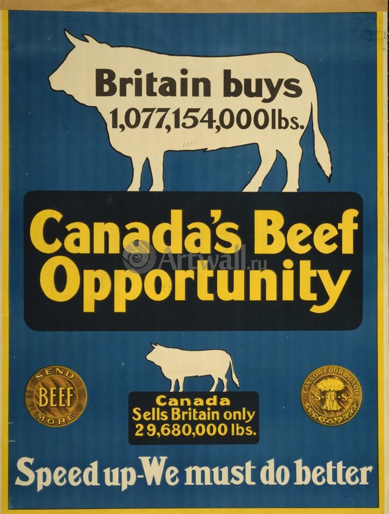 """Плакат Плакат 20 века """"Говядина Канады, мы должны сделать ее лучше"""", 20x26 см, на бумаге от Artwall"""