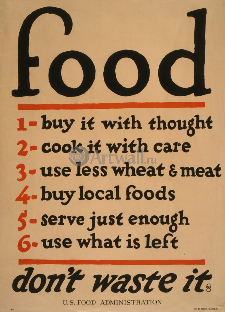 "Плакат Плакат 20 века ""Еда, не тратьте ее"", 20x28 см, на бумаге от Artwall"