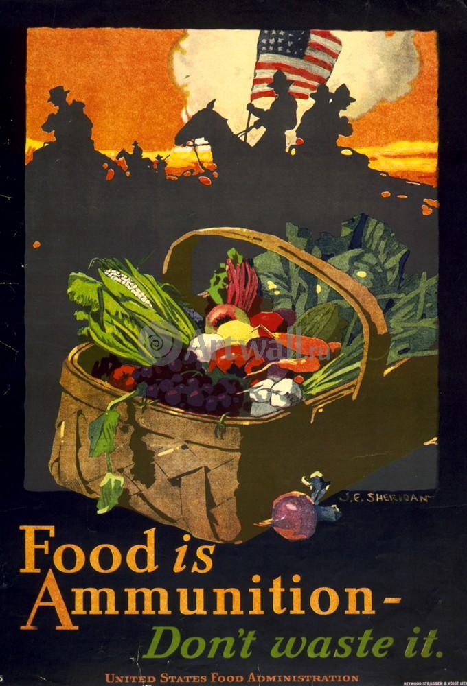 "Плакат Плакат 20 века ""Еда - боеприпас, не тратьте ее"", 20x29 см, на бумаге от Artwall"