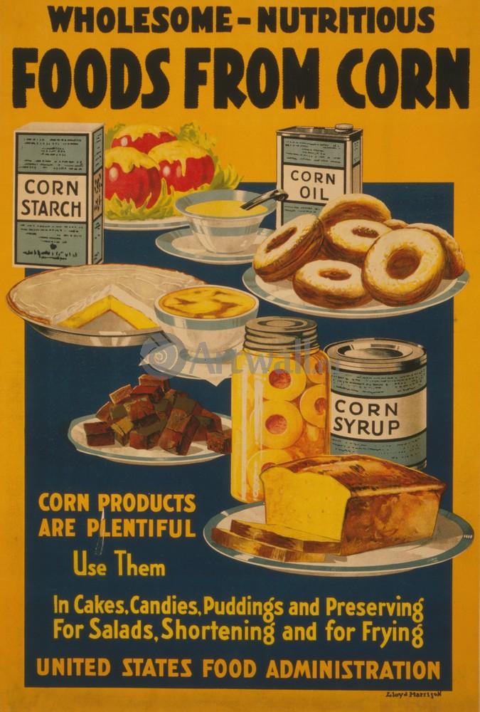 """Плакат Плакат 20 века """"Здоровые питательные продукты из кукурузы"""", 20x30 см, на бумаге от Artwall"""