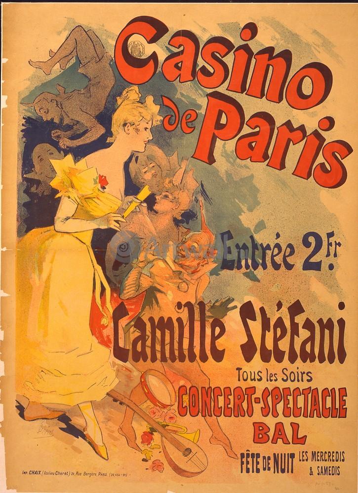 """Плакат Плакат 20 века """"Казино de Paris, Camille Stefani"""", 20x28 см, на бумаге от Artwall"""