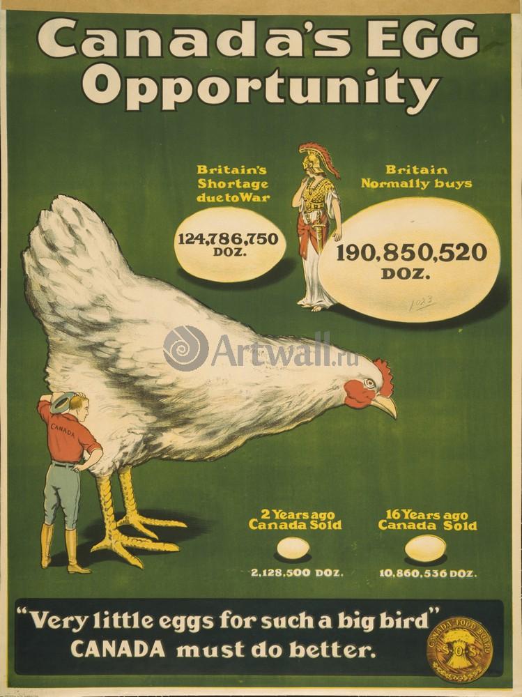 """Плакат Плакат 20 века """"Канадские Яйца, очень маленькие Яйца для такой большой Птицы, Канада должна сделать еще больше"""", 20x27 см, на бумаге от Artwall"""