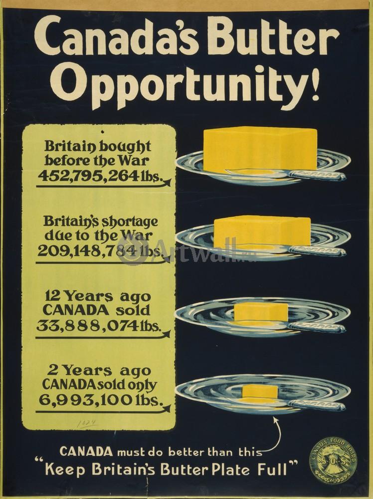 """Плакат Плакат 20 века """"Канадское Масло, держите масло в тарелке"""", 20x27 см, на бумаге от Artwall"""