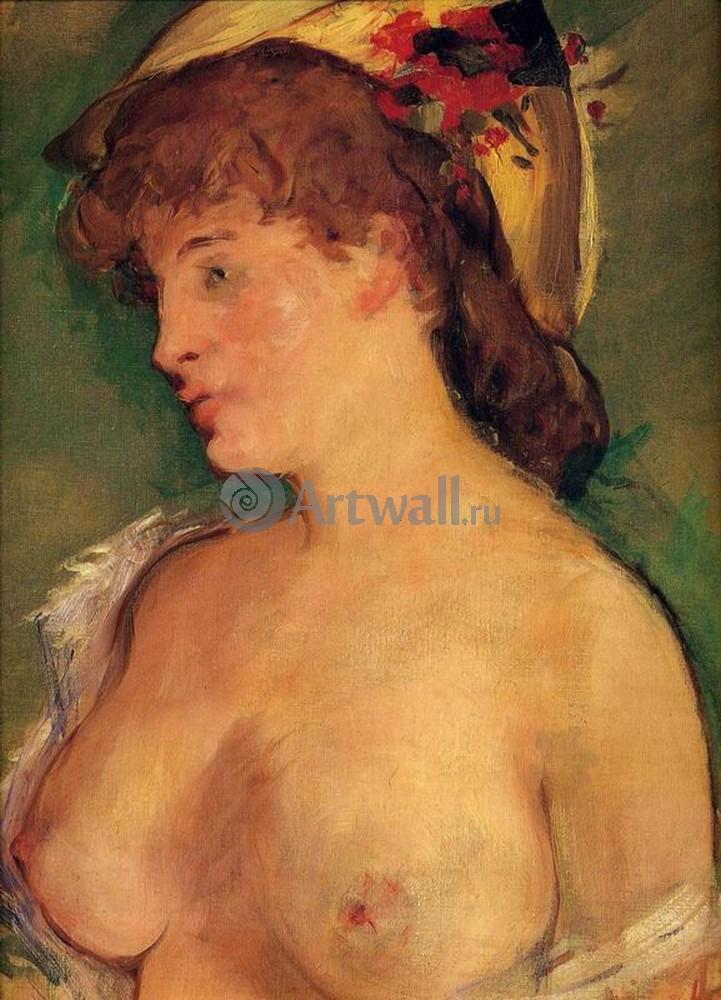 """Художники, картина """"Блондинка с обнаженной грудью"""", 20x28 см, на бумаге от Artwall"""