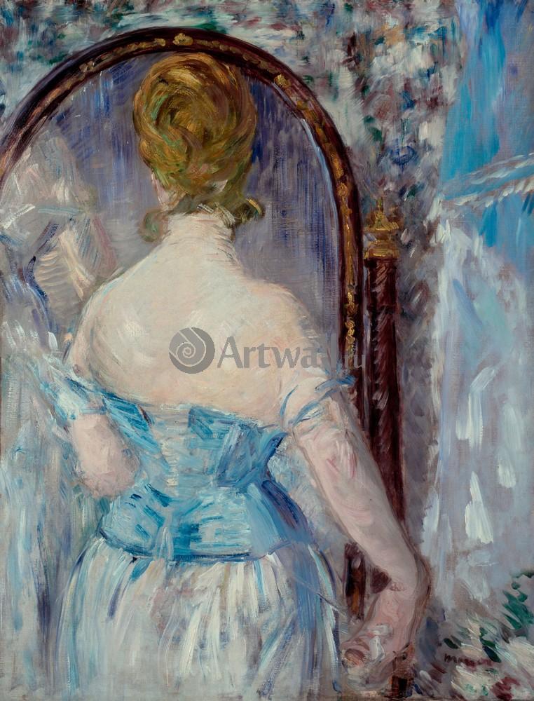 """Художники, картина """"Женщина перед зеркалом"""", 20x26 см, на бумаге от Artwall"""