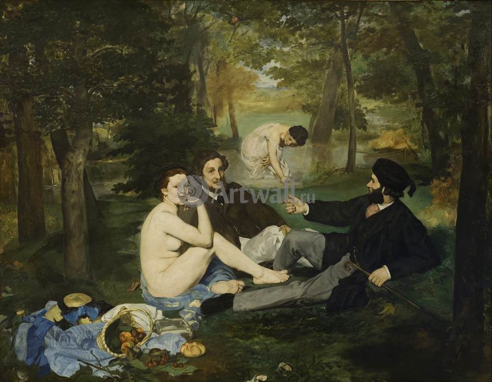 """Художники, картина """"Завтрак на траве"""", 26x20 см, на бумаге от Artwall"""