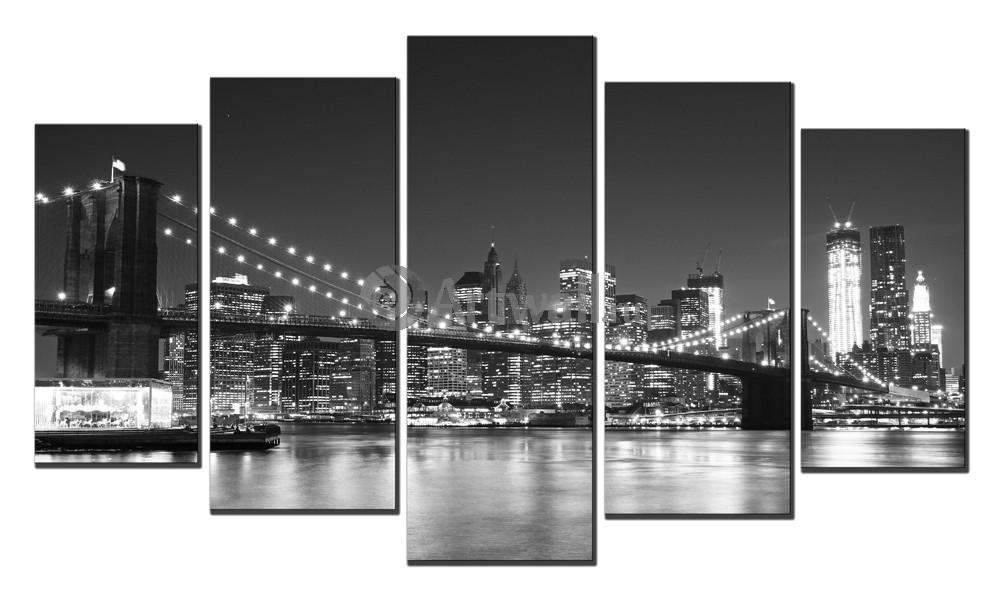 Модульная картина «Ночной Нью-Йорк», 84x50 см, модульная картина от Artwall