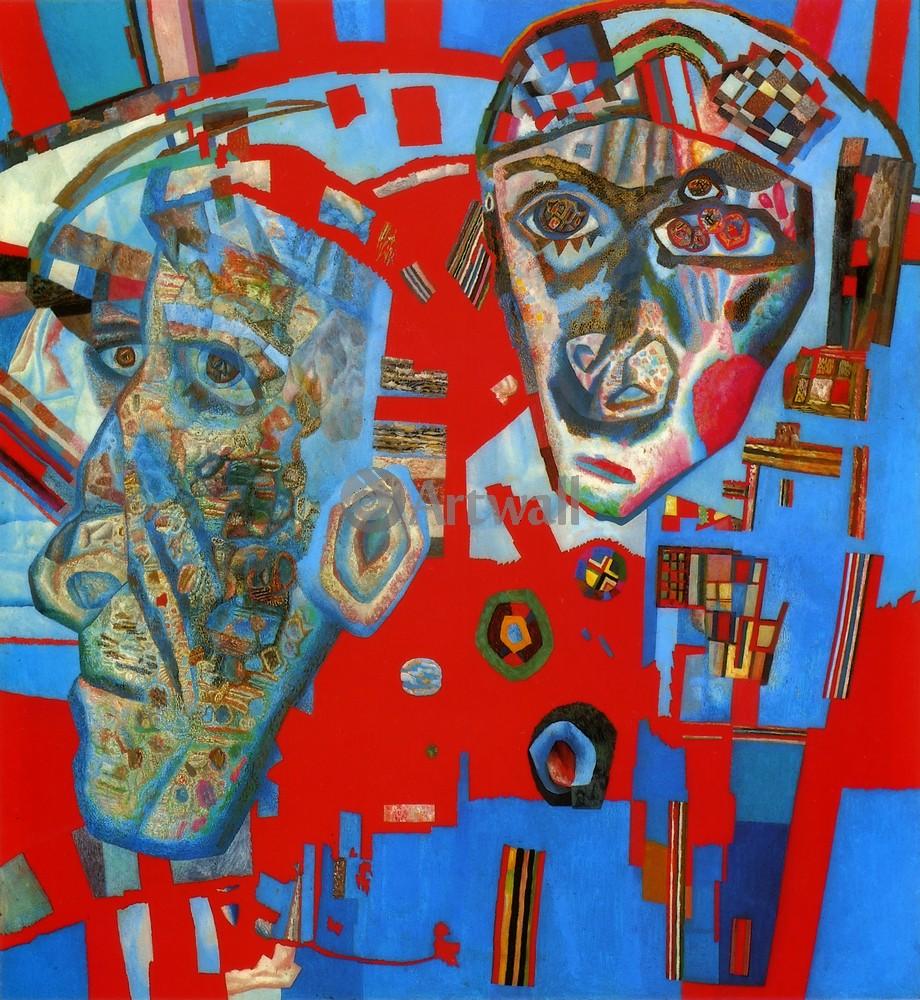 """Художники, картина """"Две головы"""", 20x22 см, на бумаге от Artwall"""