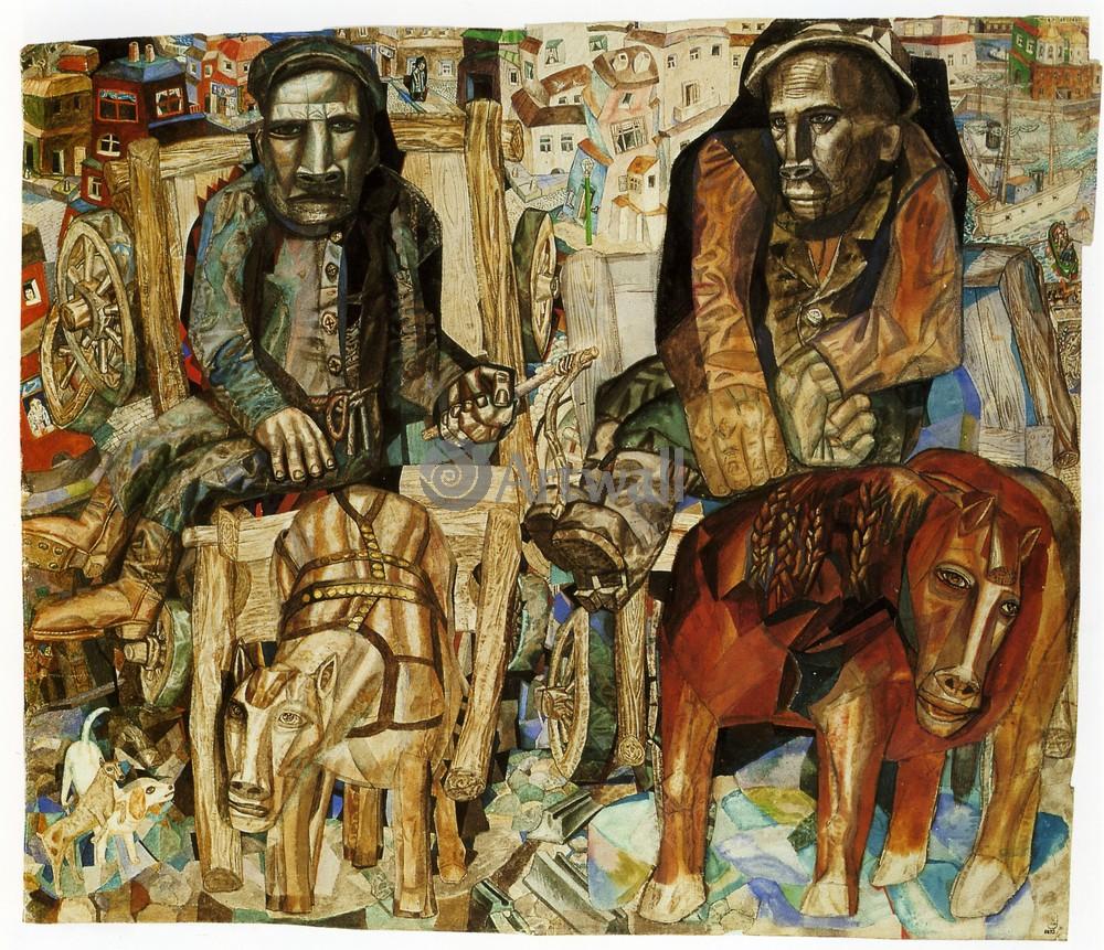"""Художники, картина """"Ломовые"""", 23x20 см, на бумаге от Artwall"""
