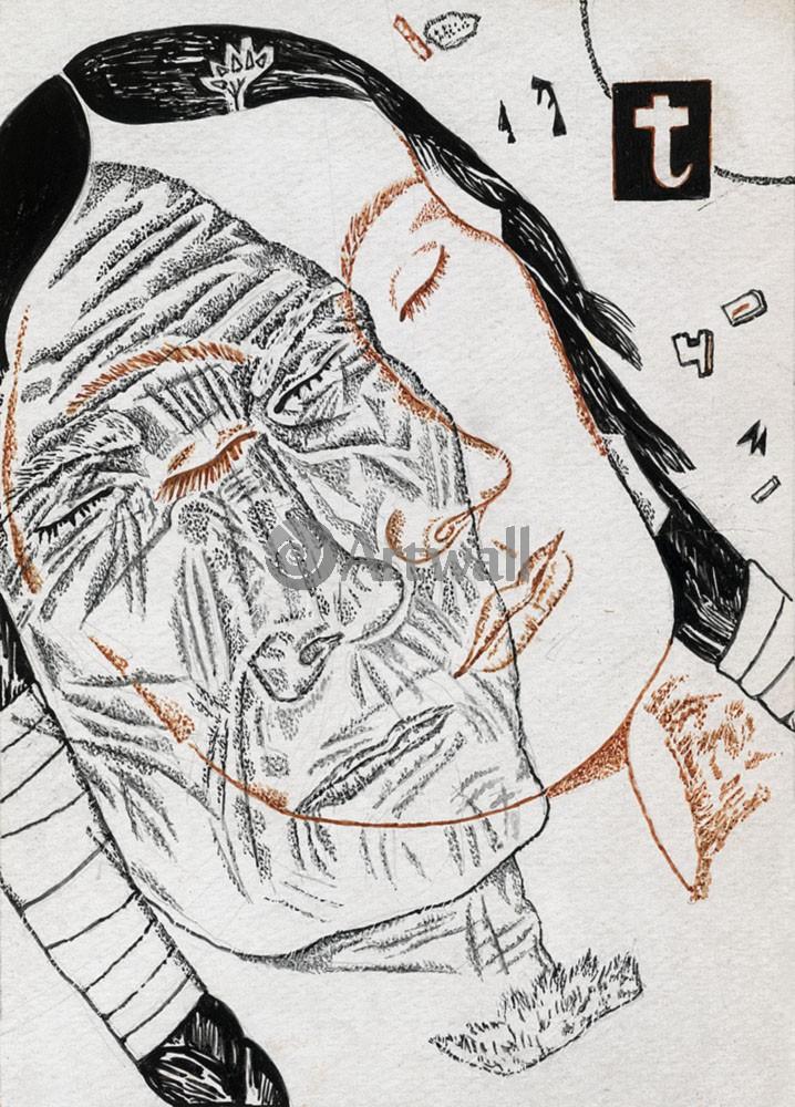 """Художники, картина """"Филонов совместно с Порет"""", 20x28 см, на бумаге от Artwall"""