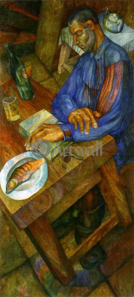 """Художники, картина """"Школа Филонова - Тэнисман, Рабочий, сидящий за столом"""", 20x44 см, на бумаге от Artwall"""