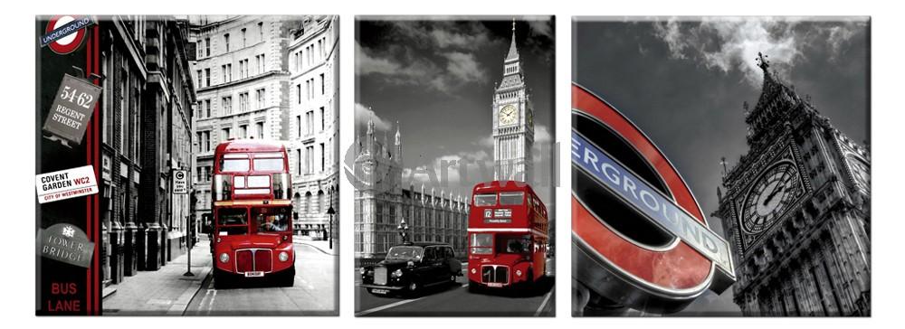 Модульная картина «Образы Лондона», 137x50 см, модульная картина от Artwall