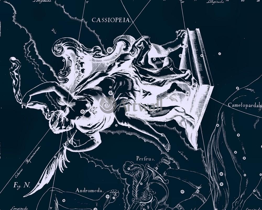 """Постер Космос """"Cassiopeia - Кассиопея"""", 25x20 см, на бумаге от Artwall"""