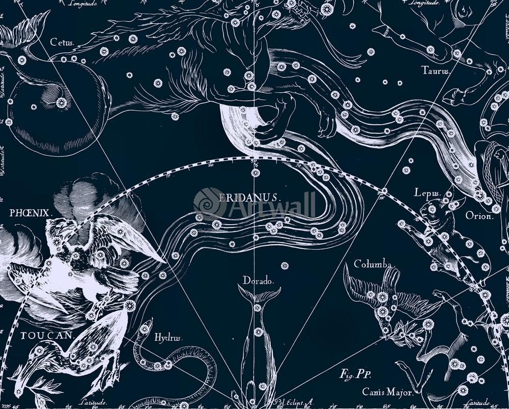 """Постер Космос """"Eridanus, Phoenix, Toucan - Эридан, Феникс, Тукан"""", 25x20 см, на бумаге от Artwall"""