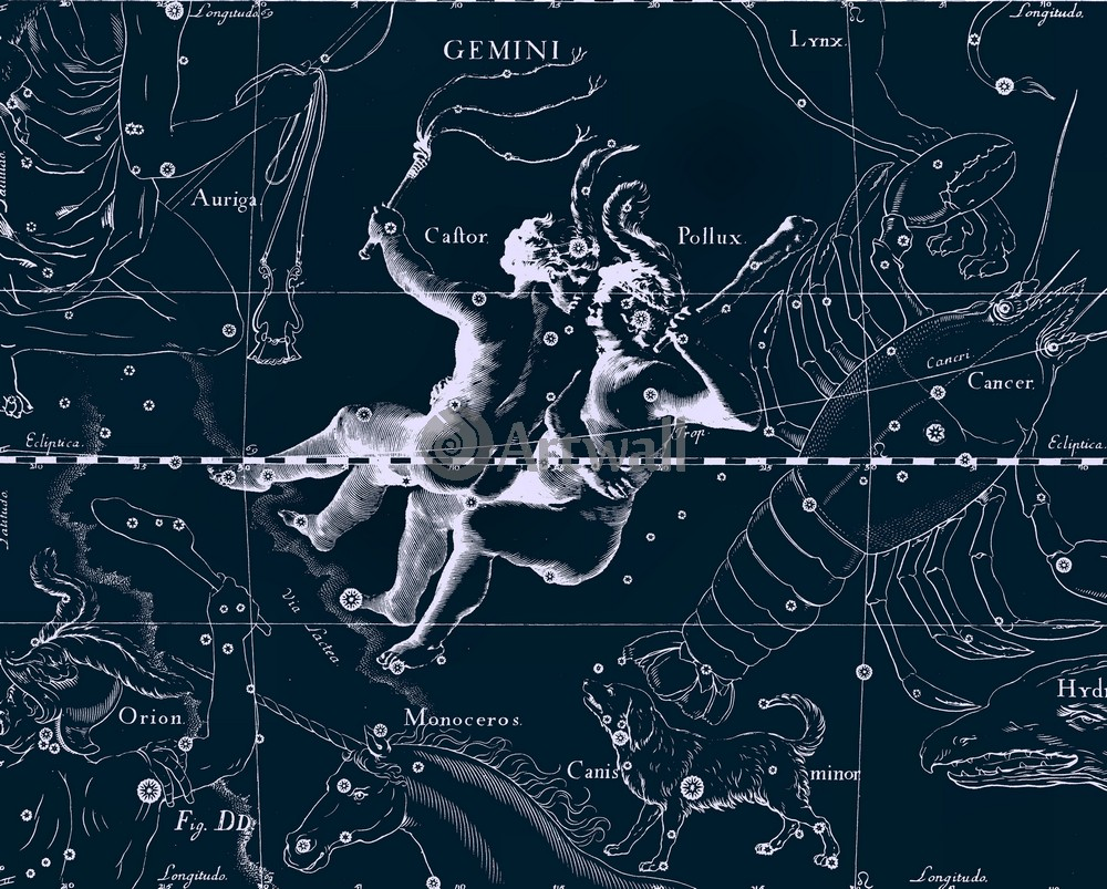 """Постер Космос """"Gemini - Близнецы"""", 25x20 см, на бумаге от Artwall"""
