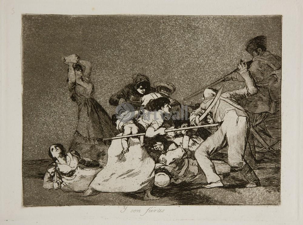 """Художники, картина """"Бедствия войны - Лист 5. И они становятся как дикие звери"""", 27x20 см, на бумаге от Artwall"""