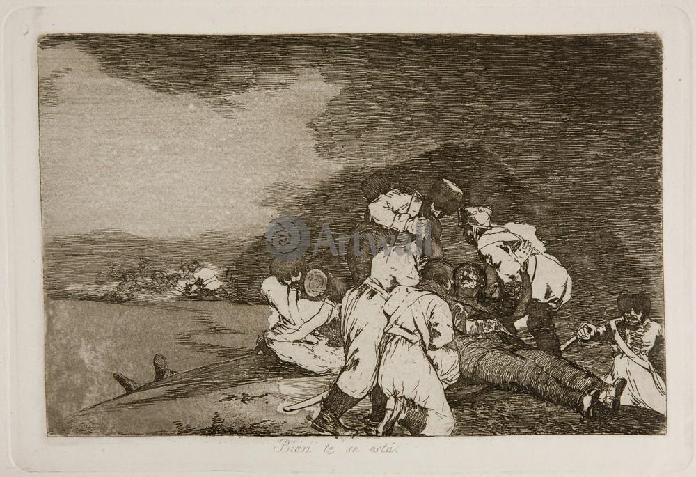 """Художники, картина """"Бедствия войны - Лист 6. Да будет тебе это во благо"""", 29x20 см, на бумаге от Artwall"""
