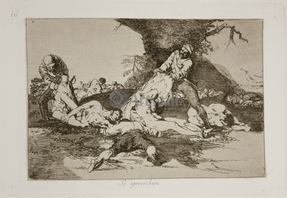"""Художники, картина """"Бедствия войны - Лист 16. Они запасаются"""", 29x20 см, на бумаге от Artwall"""
