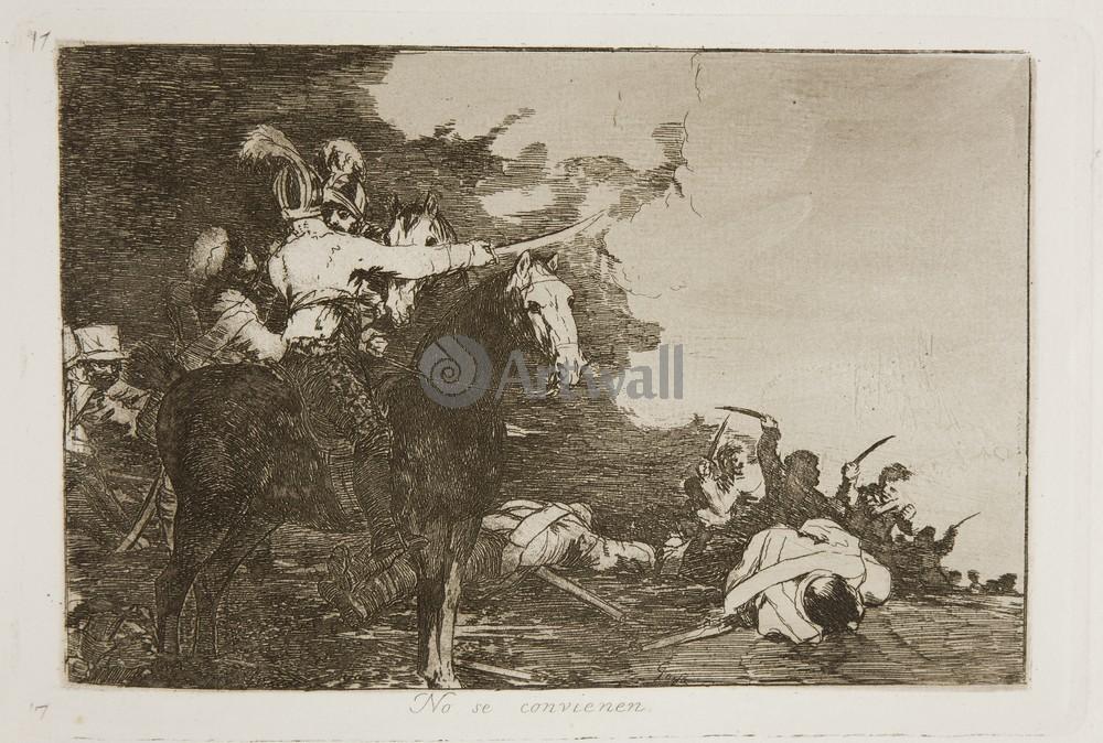 """Художники, картина """"Бедствия войны - Лист 17. Не могут сговориться"""", 30x20 см, на бумаге от Artwall"""