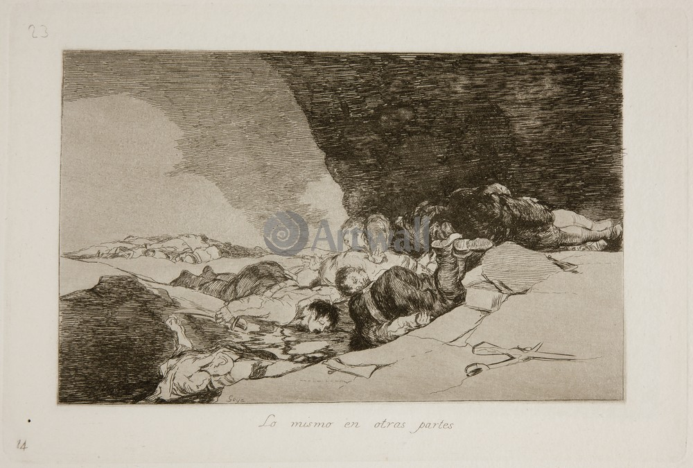 """Художники, картина """"Бедствия войны - Лист 23. Так повсюду"""", 30x20 см, на бумаге от Artwall"""