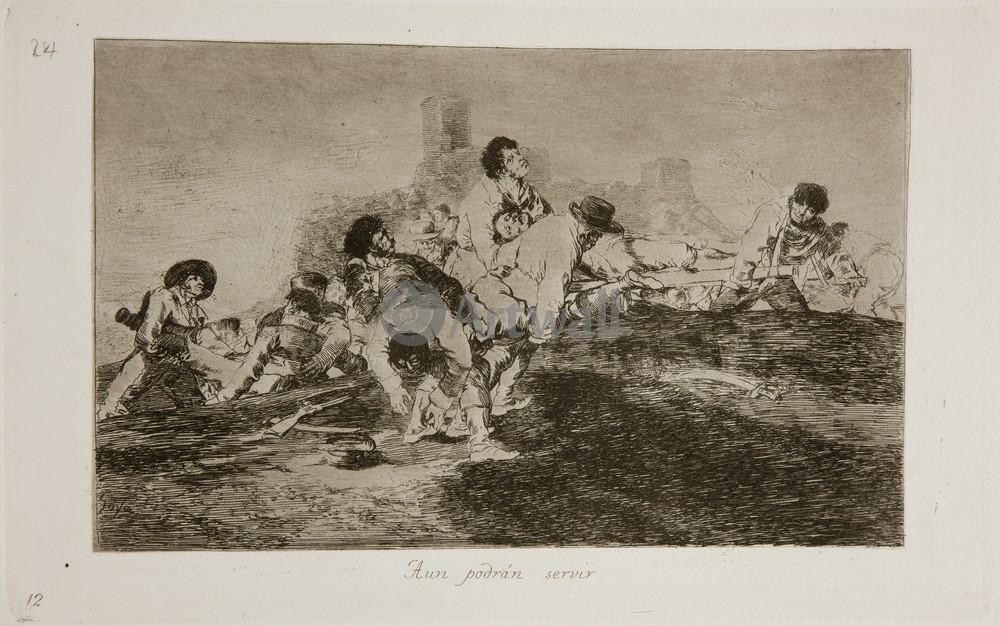 """Художники, картина """"Бедствия войны - Лист 24. Они ещё могут послужить"""", 32x20 см, на бумаге от Artwall"""