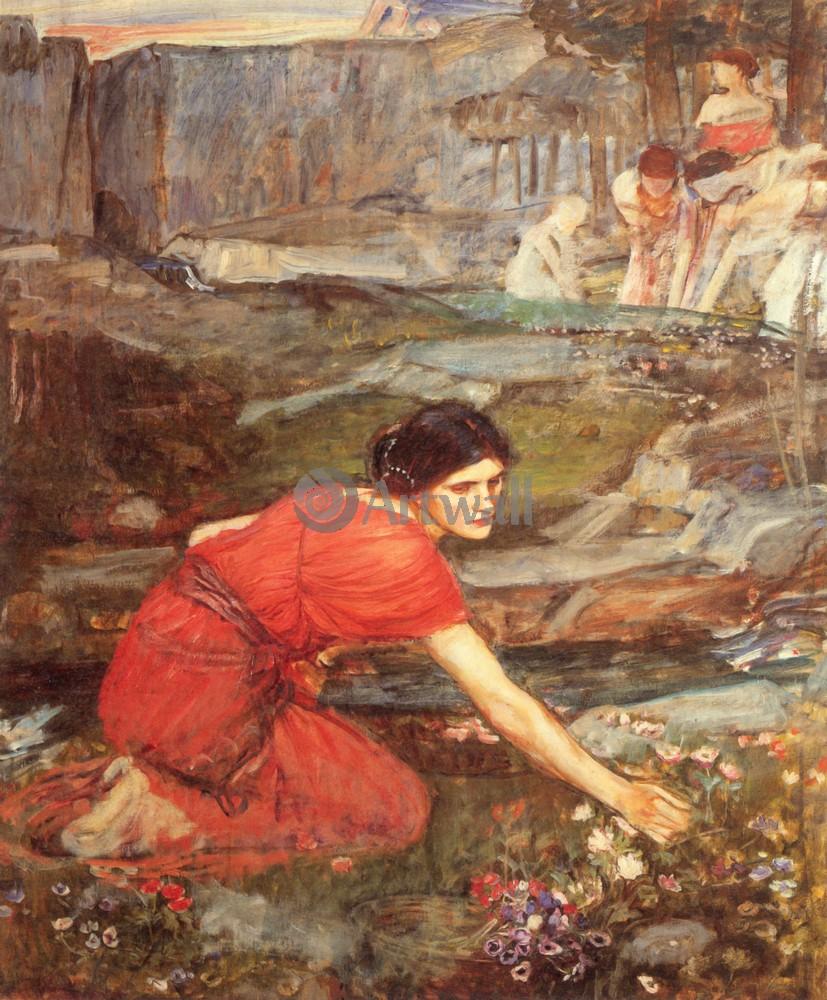 """Художники, картина """"Девушка, собирающая букет"""", 20x24 см, на бумаге от Artwall"""